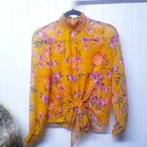 Miss Lili Yellow Floral Tie Front Blouse Size Smal